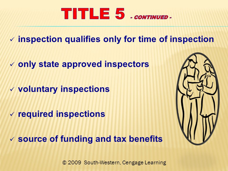 © 2009 South-Western, Cengage Learning inspection qualifies only for time of inspection only state approved inspectors voluntary inspections required inspections source of funding and tax benefits