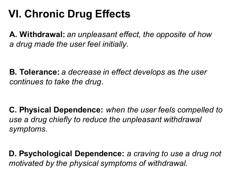 VI. Chronic Drug Effects A.
