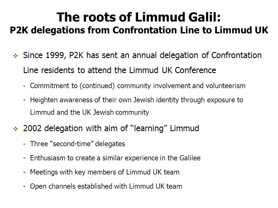 The process of creating these programs has empowered Limmud Galil volunteers Limmud Galil is a bridge connecting Jews from all sectors, something which isn t a given in Israeli society.