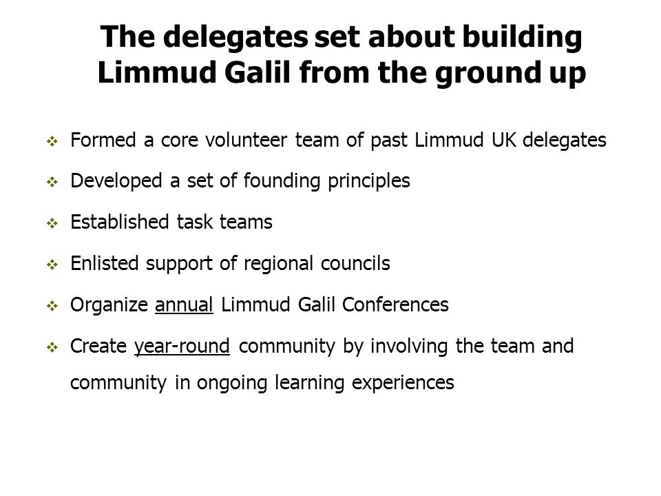 The delegates set about building Limmud Galil from the ground up  Formed a core volunteer team of past Limmud UK delegates  Developed a set of founding principles  Established task teams  Enlisted support of regional councils  Organize annual Limmud Galil Conferences  Create year-round community by involving the team and community in ongoing learning experiences