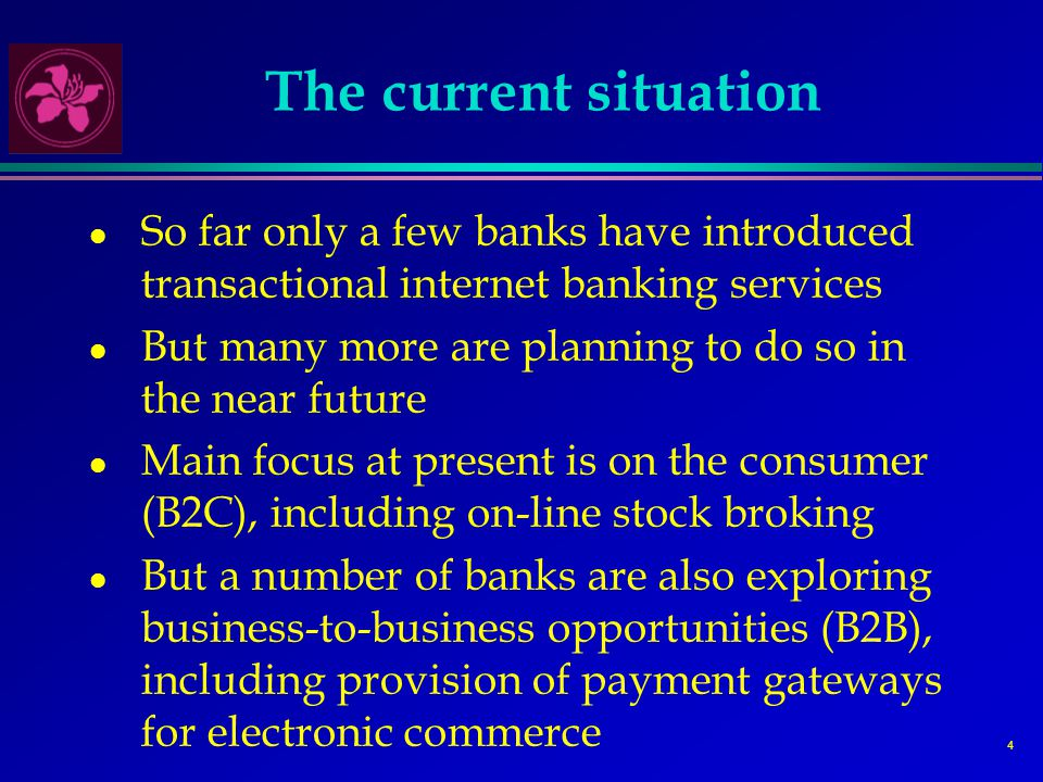 4 The current situation l So far only a few banks have introduced transactional internet banking services l But many more are planning to do so in the near future l Main focus at present is on the consumer (B2C), including on-line stock broking l But a number of banks are also exploring business-to-business opportunities (B2B), including provision of payment gateways for electronic commerce