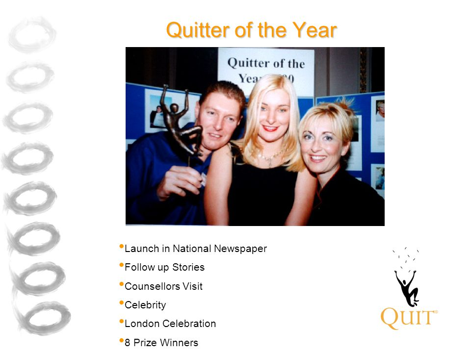 Quitter of the Year Launch in National Newspaper Follow up Stories Counsellors Visit Celebrity London Celebration 8 Prize Winners