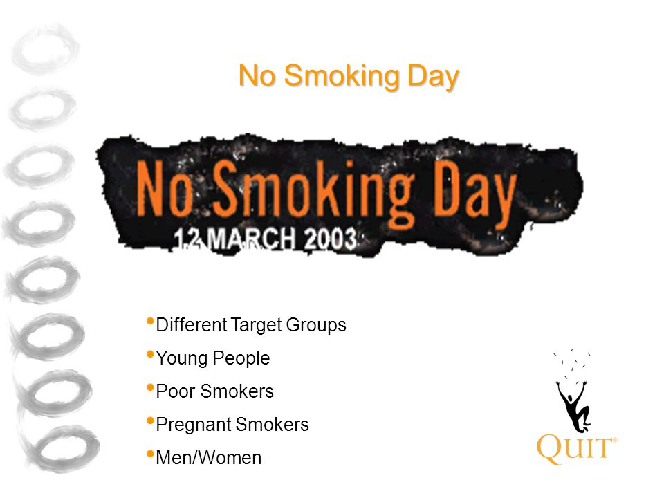 No Smoking Day Different Target Groups Young People Poor Smokers Pregnant Smokers Men/Women