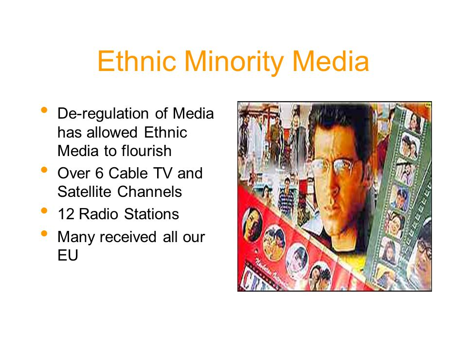 Ethnic Minority Media De-regulation of Media has allowed Ethnic Media to flourish Over 6 Cable TV and Satellite Channels 12 Radio Stations Many received all our EU