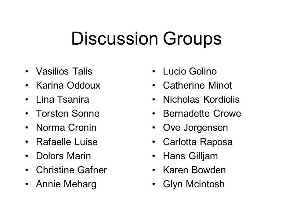 Discussion Groups Vasilios Talis Karina Oddoux Lina Tsanira Torsten Sonne Norma Cronin Rafaelle Luise Dolors Marin Christine Gafner Annie Meharg Lucio