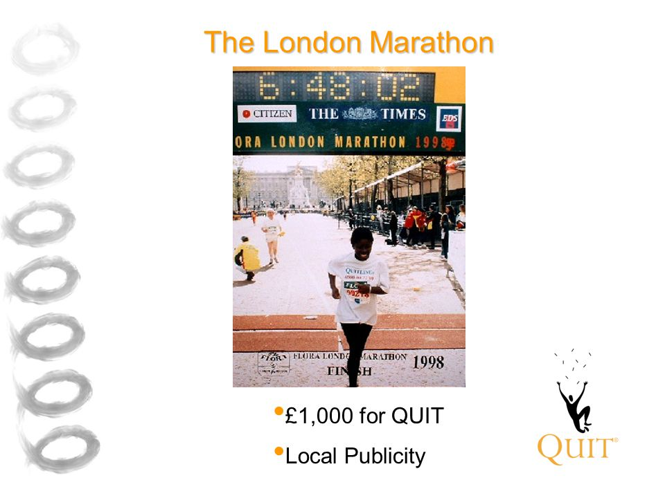 The London Marathon £1,000 for QUIT Local Publicity