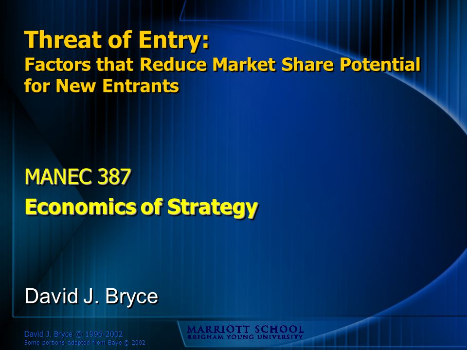 David J.Bryce © 1996-2002 Some portions adapted from Baye © 2002 Pricing – IBM vs.