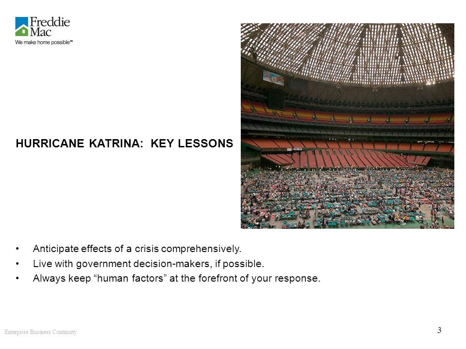 Enterprise Business Continuity 3 HURRICANE KATRINA: KEY LESSONS Anticipate effects of a crisis comprehensively.