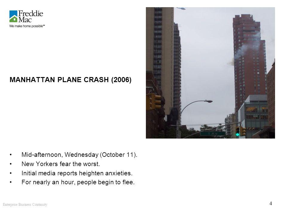 Enterprise Business Continuity 4 MANHATTAN PLANE CRASH (2006) Mid-afternoon, Wednesday (October 11).