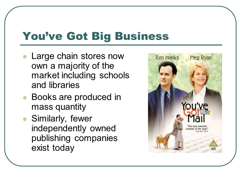 You've Got Big Business Large chain stores now own a majority of the market including schools and libraries Books are produced in mass quantity Similarly, fewer independently owned publishing companies exist today