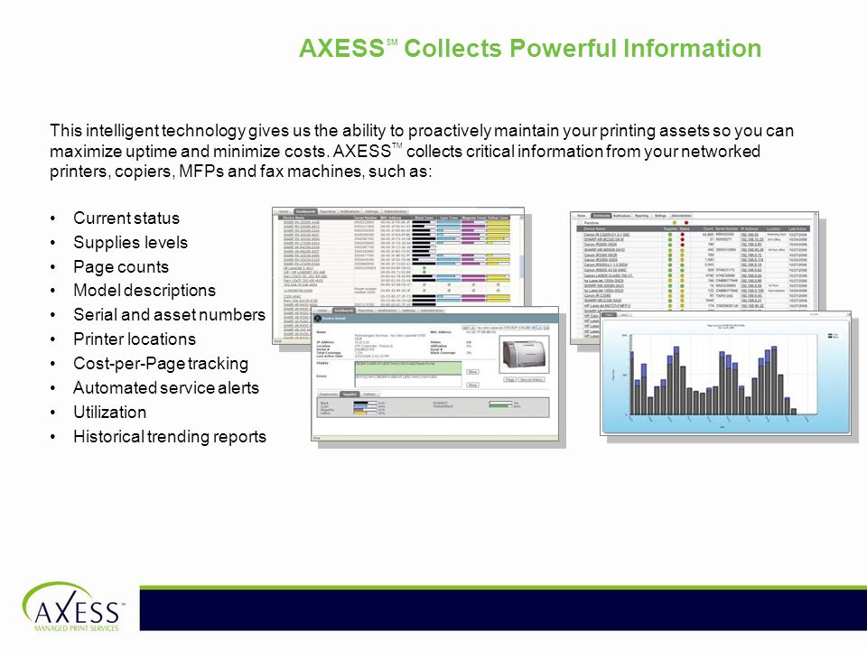 AXESS SM Collects Powerful Information This intelligent technology gives us the ability to proactively maintain your printing assets so you can maximize uptime and minimize costs.