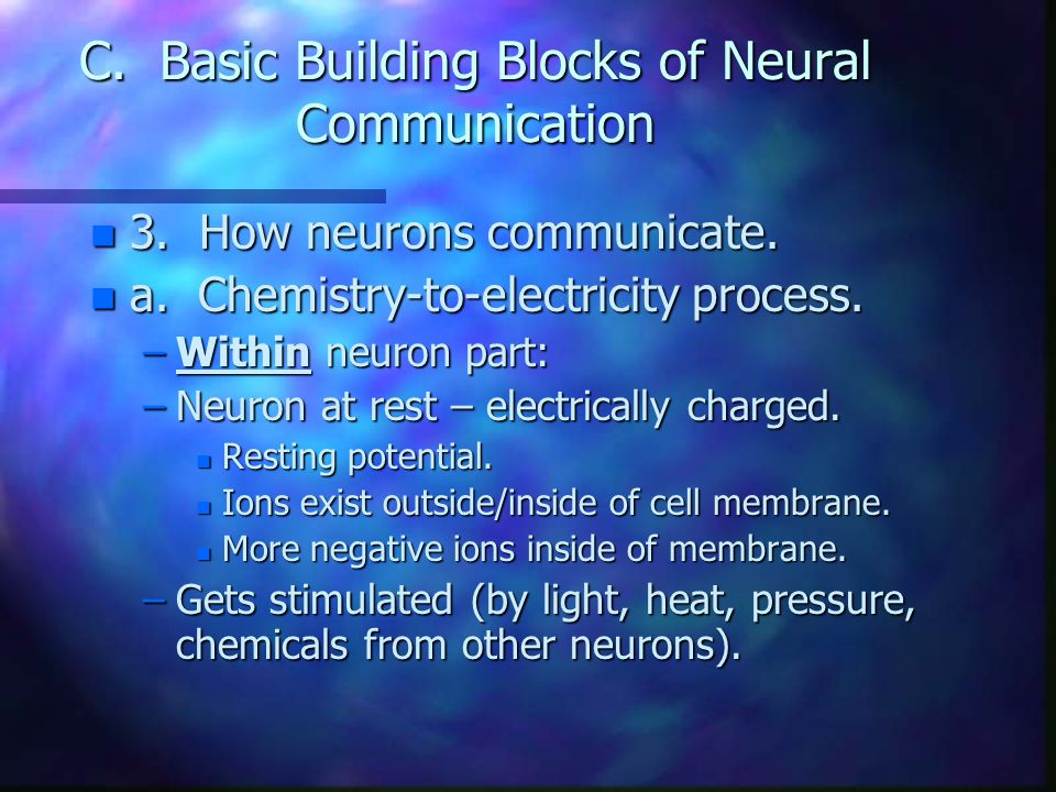 C. Basic Building Blocks of Neural Communication n 3. How neurons communicate. n a. Chemistry-to-electricity process. –Within neuron part: –Neuron at