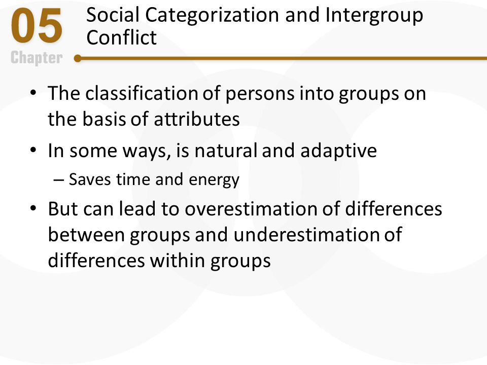Social Categorization and Intergroup Conflict The classification of persons into groups on the basis of attributes In some ways, is natural and adapti