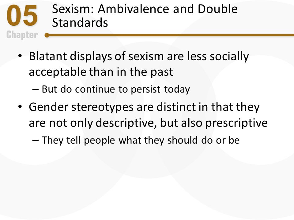 Ambivalent Sexism Form of sexism characterized by attitudes about women that reflect both negative, resentful beliefs/feelings as well as affectionate and chivalrous but potentially patronizing beliefs/feelings – Hostile sexism – Benevolent sexism Seems to have diminished over time, but discrimination based on sex is still prevalent today