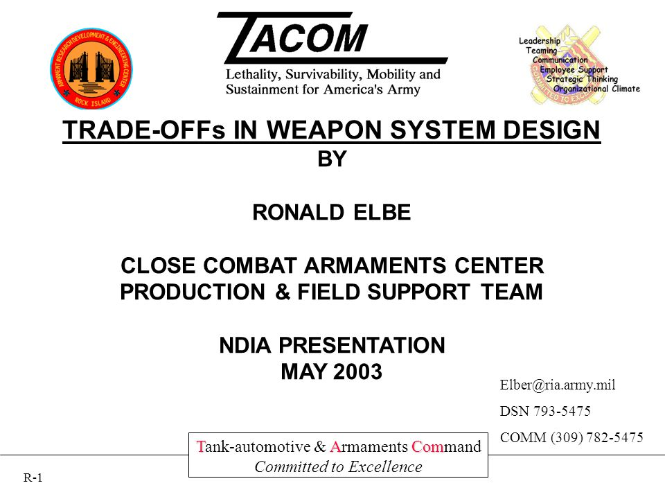 TACom Tank-automotive & Armaments Command Committed to Excellence TRADE-OFFs IN WEAPON SYSTEM DESIGN BY RONALD ELBE CLOSE COMBAT ARMAMENTS CENTER PRODUCTION & FIELD SUPPORT TEAM NDIA PRESENTATION MAY 2003 Elber@ria.army.mil DSN 793-5475 COMM (309) 782-5475 R-1