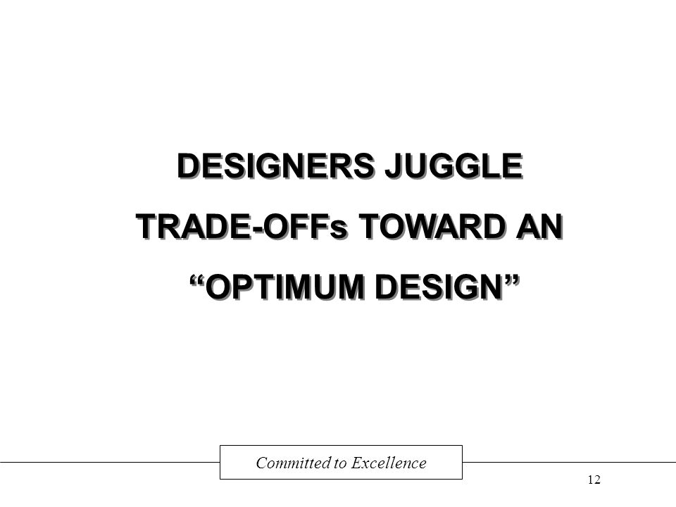 DESIGNERS JUGGLE TRADE-OFFs TOWARD AN OPTIMUM DESIGN DESIGNERS JUGGLE TRADE-OFFs TOWARD AN OPTIMUM DESIGN Committed to Excellence 12
