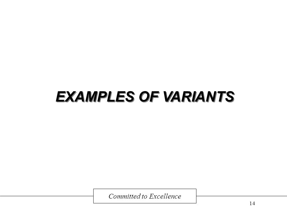 EXAMPLES OF VARIANTS Committed to Excellence 14