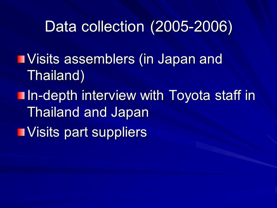 Data collection (2005-2006) Visits assemblers (in Japan and Thailand) In-depth interview with Toyota staff in Thailand and Japan Visits part suppliers