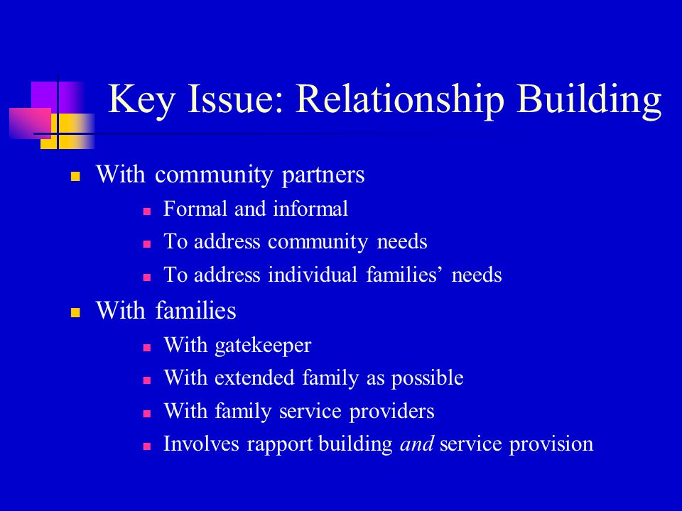 Key Issue: Relationship Building With community partners Formal and informal To address community needs To address individual families' needs With families With gatekeeper With extended family as possible With family service providers Involves rapport building and service provision