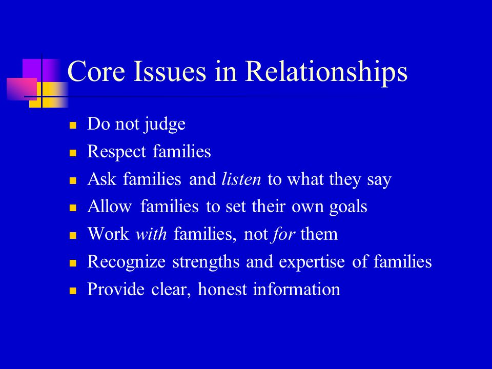 Core Issues in Relationships Do not judge Respect families Ask families and listen to what they say Allow families to set their own goals Work with fa