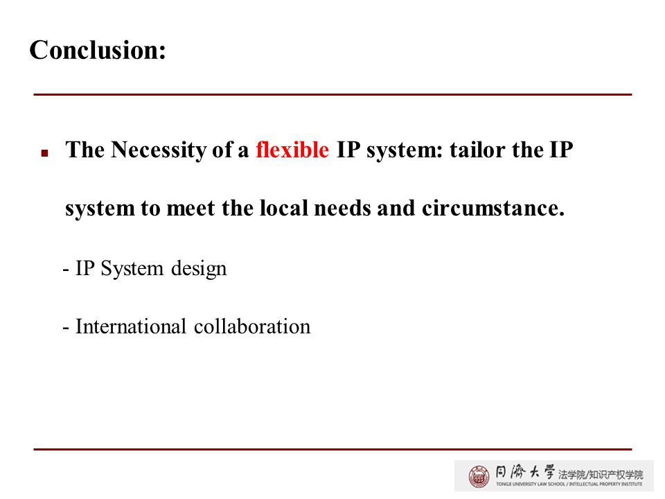 Conclusion: The Necessity of a flexible IP system: tailor the IP system to meet the local needs and circumstance.
