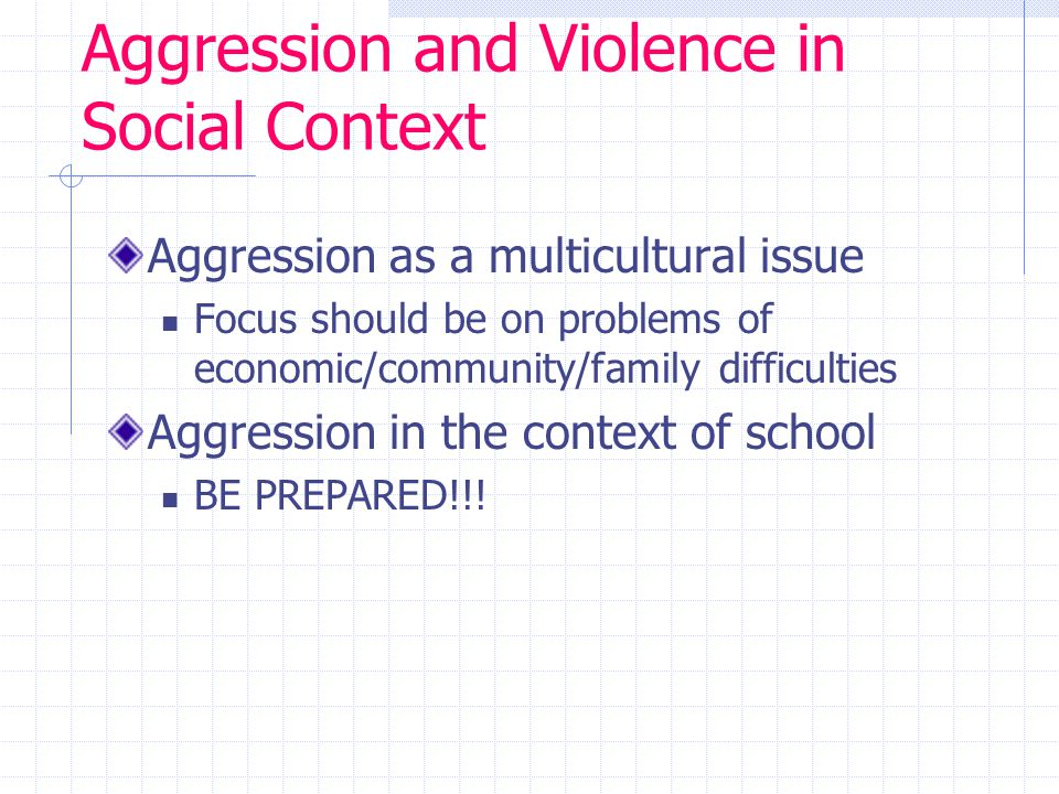 Aggression and Violence in Social Context Aggression as a multicultural issue Focus should be on problems of economic/community/family difficulties Aggression in the context of school BE PREPARED!!!