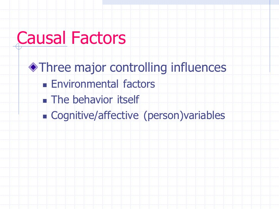Causal Factors Three major controlling influences Environmental factors The behavior itself Cognitive/affective (person)variables