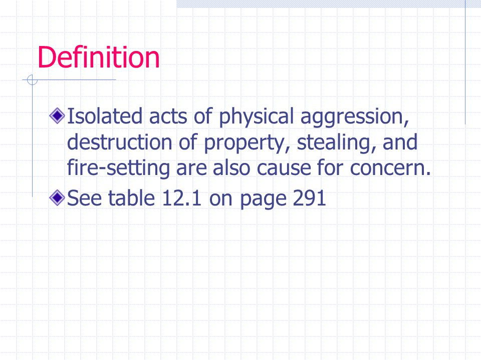 Definition Isolated acts of physical aggression, destruction of property, stealing, and fire-setting are also cause for concern.
