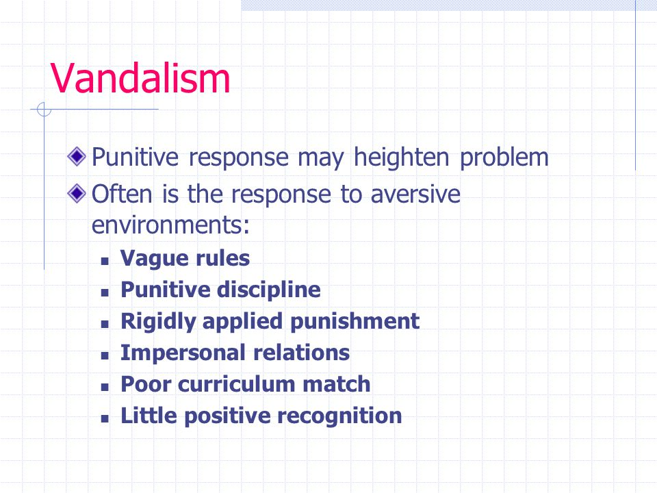Vandalism Punitive response may heighten problem Often is the response to aversive environments: Vague rules Punitive discipline Rigidly applied punishment Impersonal relations Poor curriculum match Little positive recognition