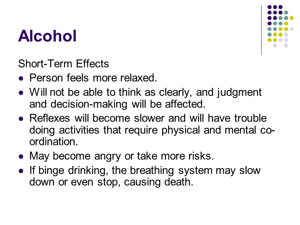 Alcohol Long-Term Effects A heavy drinker may develop inflamed stomach or pancreas, cirrhosis of the liver, certain cancers of the gastrointestinal tract, heart disease, high blood pressure, brain and nerve damage.
