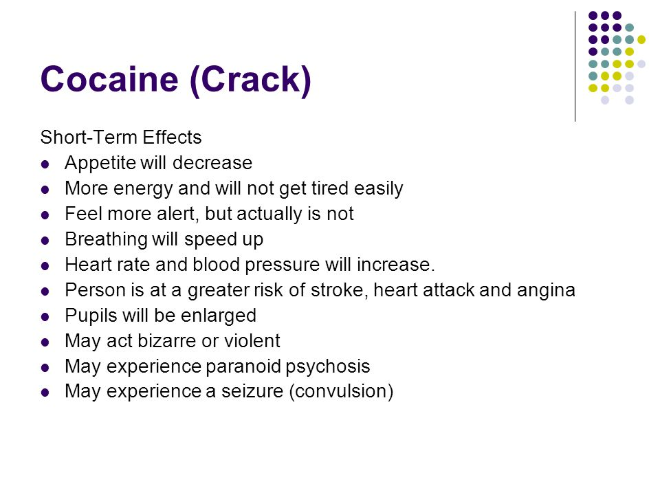 Cocaine (Crack) Long-Term Effects If sniffed, nose tissues will be damaged May be undernourished May get infections more easily Highly addictive Tolerance can develop and more drug is needed to get the same affect There is a risk of HIV infection if injected May experience paranoid psychosis (may be irreversible) Legal Status Possession/buying, possession for trafficking, trafficking, production, importing and exporting are all illegal