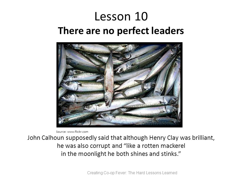 Lesson 10 There are no perfect leaders Source: www.flickr.com John Calhoun supposedly said that although Henry Clay was brilliant, he was also corrupt and like a rotten mackerel in the moonlight he both shines and stinks. Creating Co-op Fever: The Hard Lessons Learned