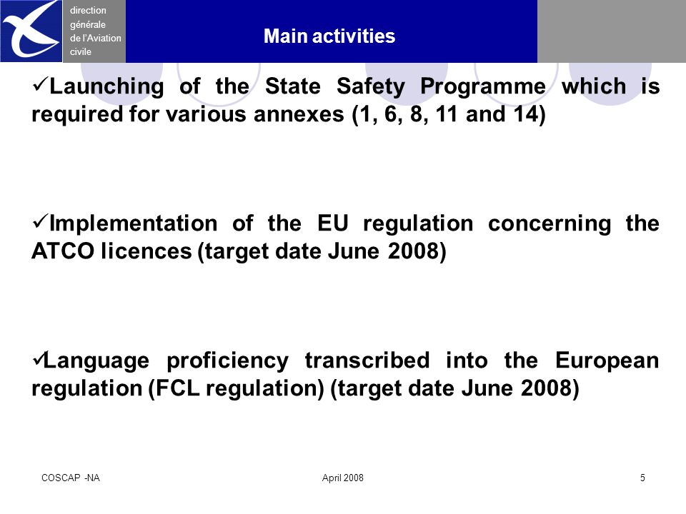 COSCAP -NAApril 20085 direction générale de l'Aviation civile Main activities Launching of the State Safety Programme which is required for various annexes (1, 6, 8, 11 and 14) Implementation of the EU regulation concerning the ATCO licences (target date June 2008) Language proficiency transcribed into the European regulation (FCL regulation) (target date June 2008)
