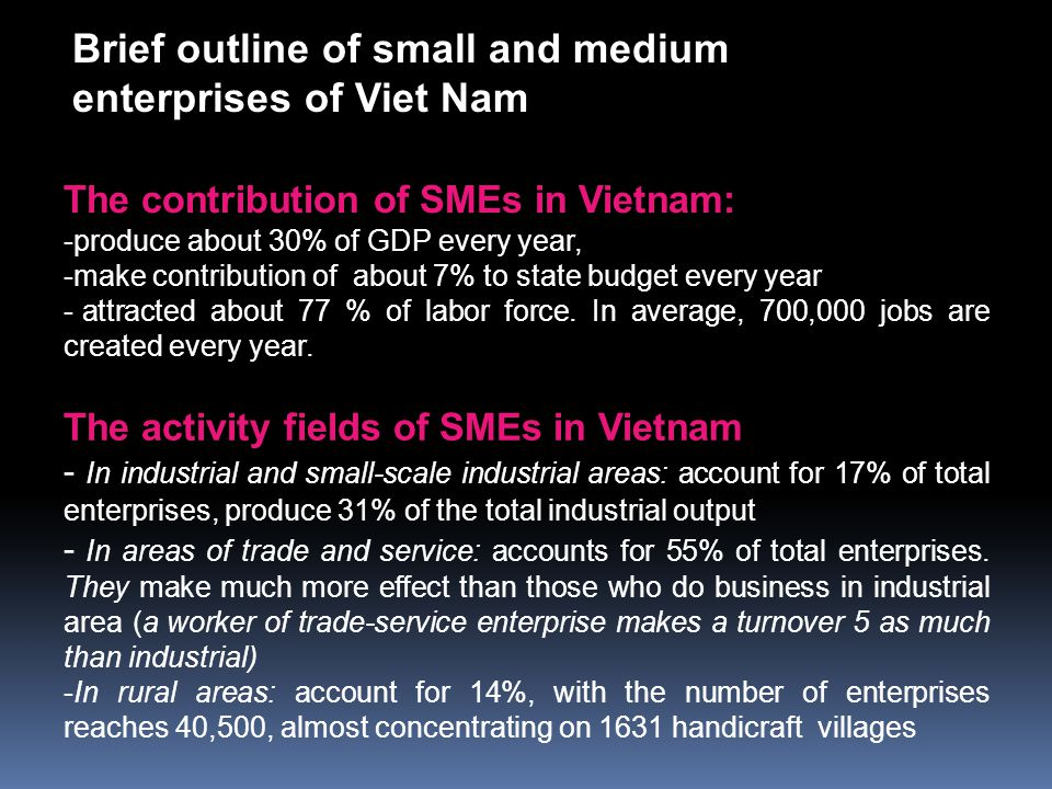 The contribution of SMEs in Vietnam: -produce about 30% of GDP every year, -make contribution of about 7% to state budget every year - attracted about 77 % of labor force.