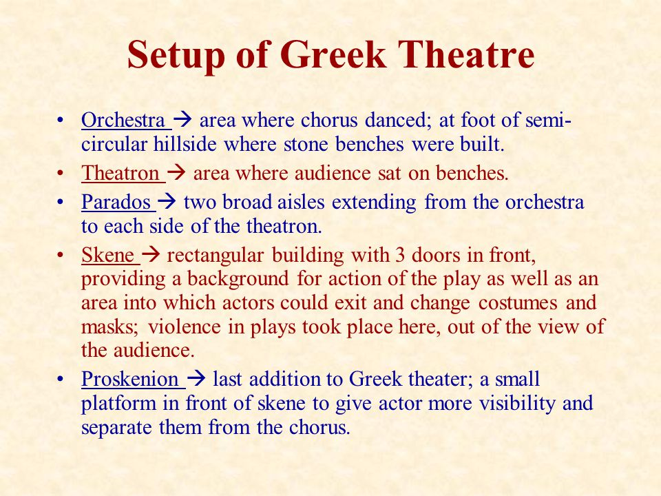 Setup of Greek Theatre Orchestra  area where chorus danced; at foot of semi- circular hillside where stone benches were built. Theatron  area where