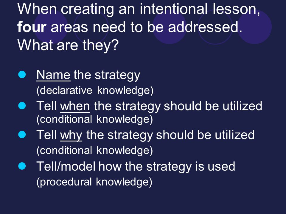 When creating an intentional lesson, four areas need to be addressed.