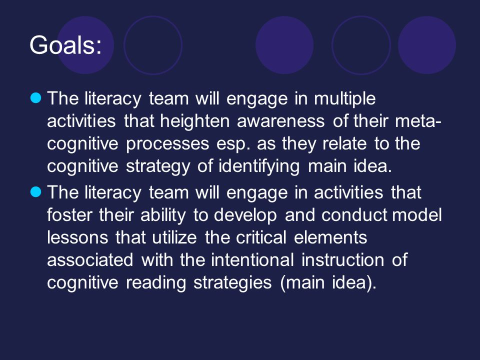 Goals: The literacy team will engage in multiple activities that heighten awareness of their meta- cognitive processes esp.