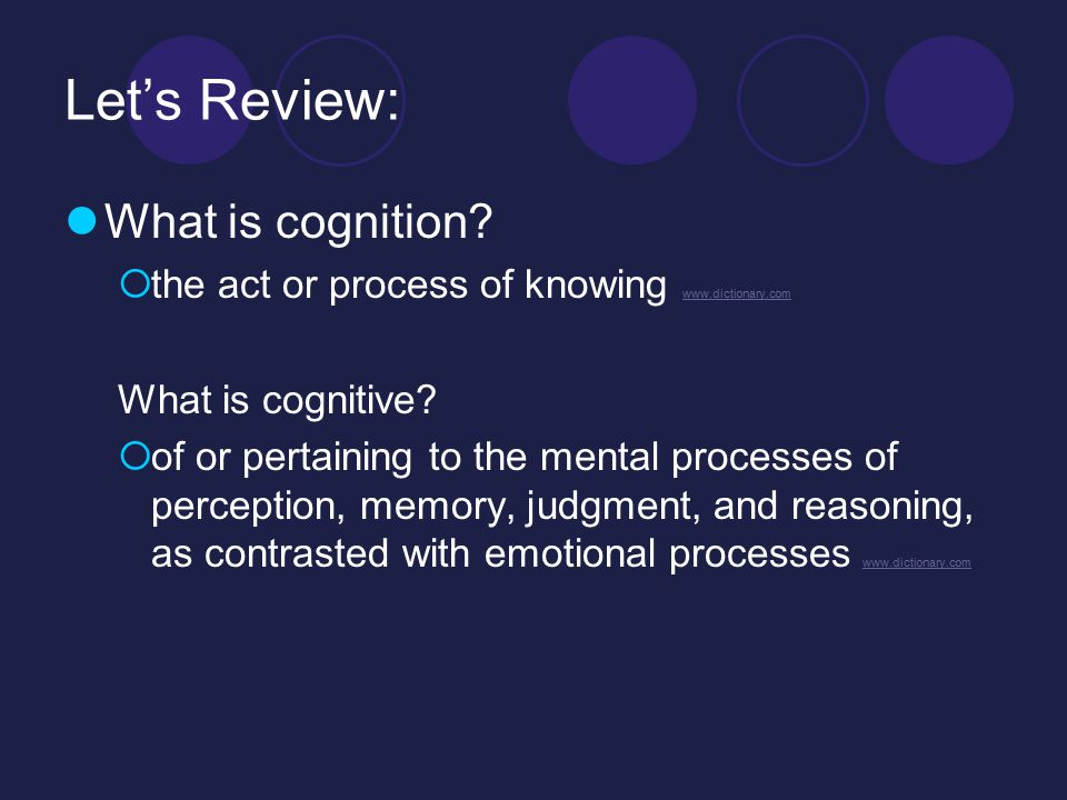 Let's Review: What is cognition.