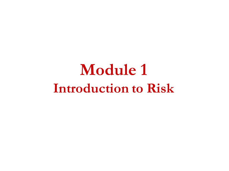 Module 1 Introduction to Risk