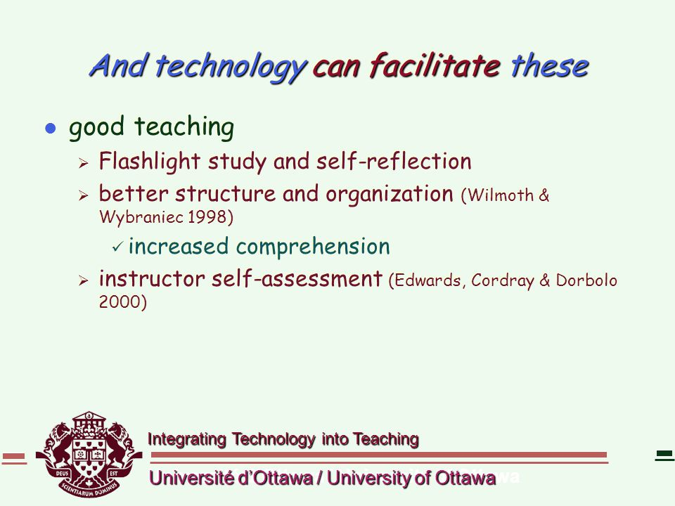 Integrating Technology into Teaching Université d'Ottawa / University of Ottawa And technology can facilitate these l good teaching  Flashlight study