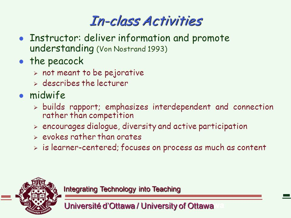 Integrating Technology into Teaching Université d'Ottawa / University of Ottawa In-class Activities l Instructor: deliver information and promote unde