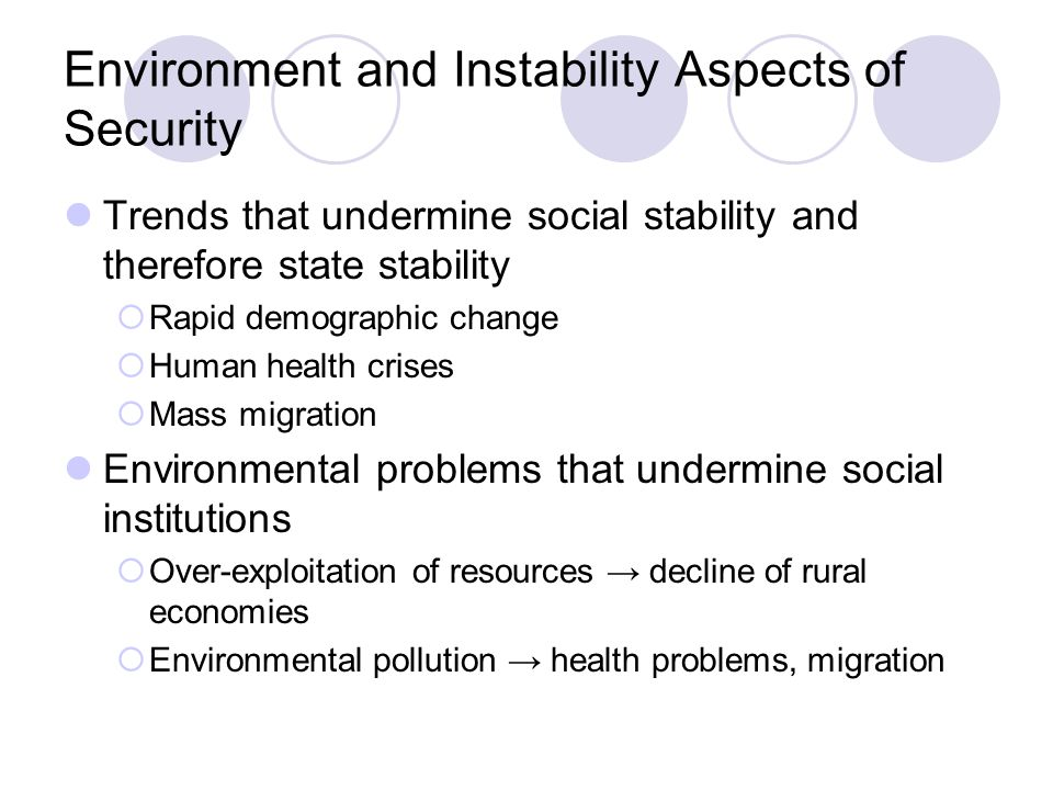 Environment and Instability Aspects of Security Trends that undermine social stability and therefore state stability  Rapid demographic change  Human health crises  Mass migration Environmental problems that undermine social institutions  Over-exploitation of resources → decline of rural economies  Environmental pollution → health problems, migration
