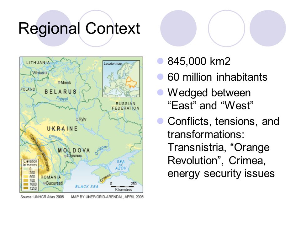 Regional Context 845,000 km2 60 million inhabitants Wedged between East and West Conflicts, tensions, and transformations: Transnistria, Orange Revolution , Crimea, energy security issues