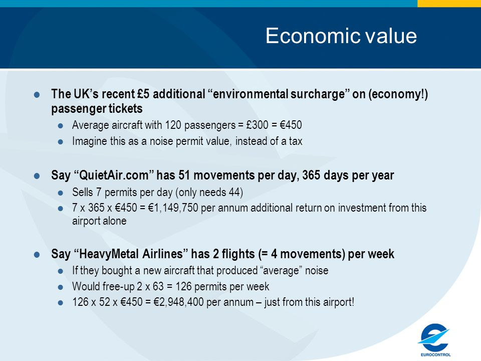 Economic value The UK's recent £5 additional environmental surcharge on (economy!) passenger tickets Average aircraft with 120 passengers = £300 = €450 Imagine this as a noise permit value, instead of a tax Say QuietAir.com has 51 movements per day, 365 days per year Sells 7 permits per day (only needs 44) 7 x 365 x €450 = €1,149,750 per annum additional return on investment from this airport alone Say HeavyMetal Airlines has 2 flights (= 4 movements) per week If they bought a new aircraft that produced average noise Would free-up 2 x 63 = 126 permits per week 126 x 52 x €450 = €2,948,400 per annum – just from this airport!