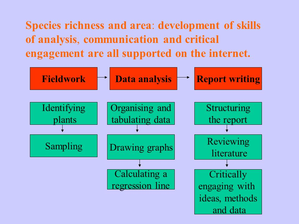 Species richness and area: development of skills of analysis, communication and critical engagement are all supported on the internet.