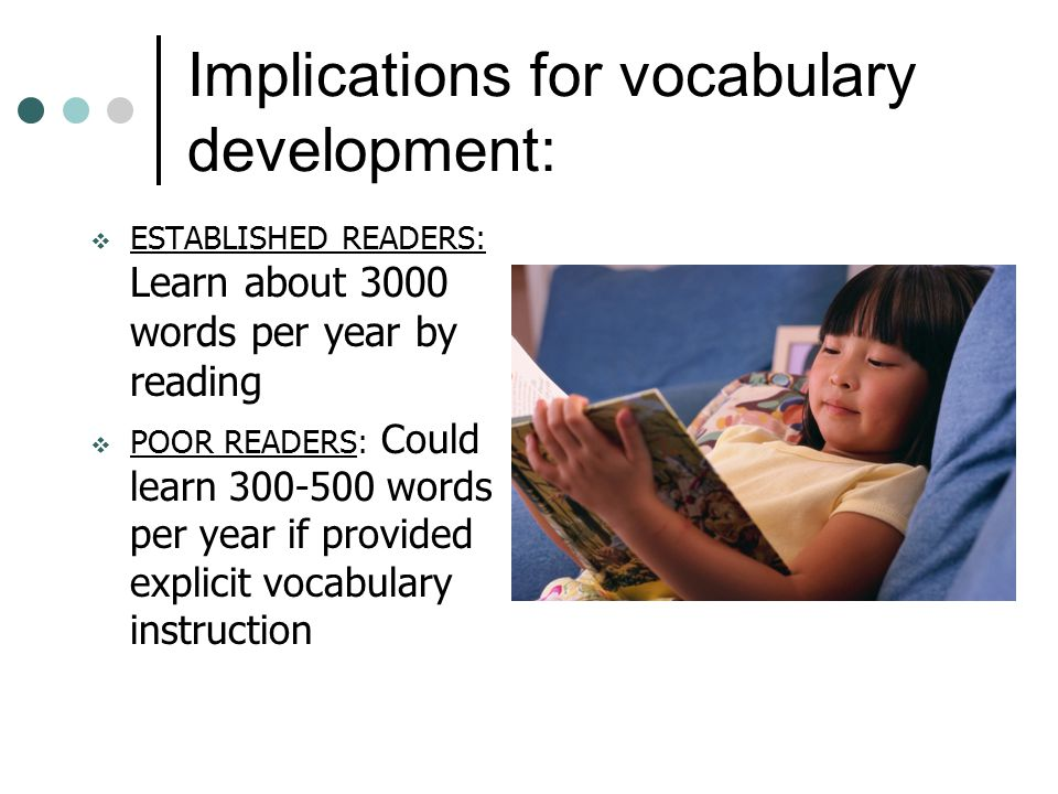 Implications for vocabulary development:  ESTABLISHED READERS: Learn about 3000 words per year by reading  POOR READERS: Could learn 300-500 words per year if provided explicit vocabulary instruction