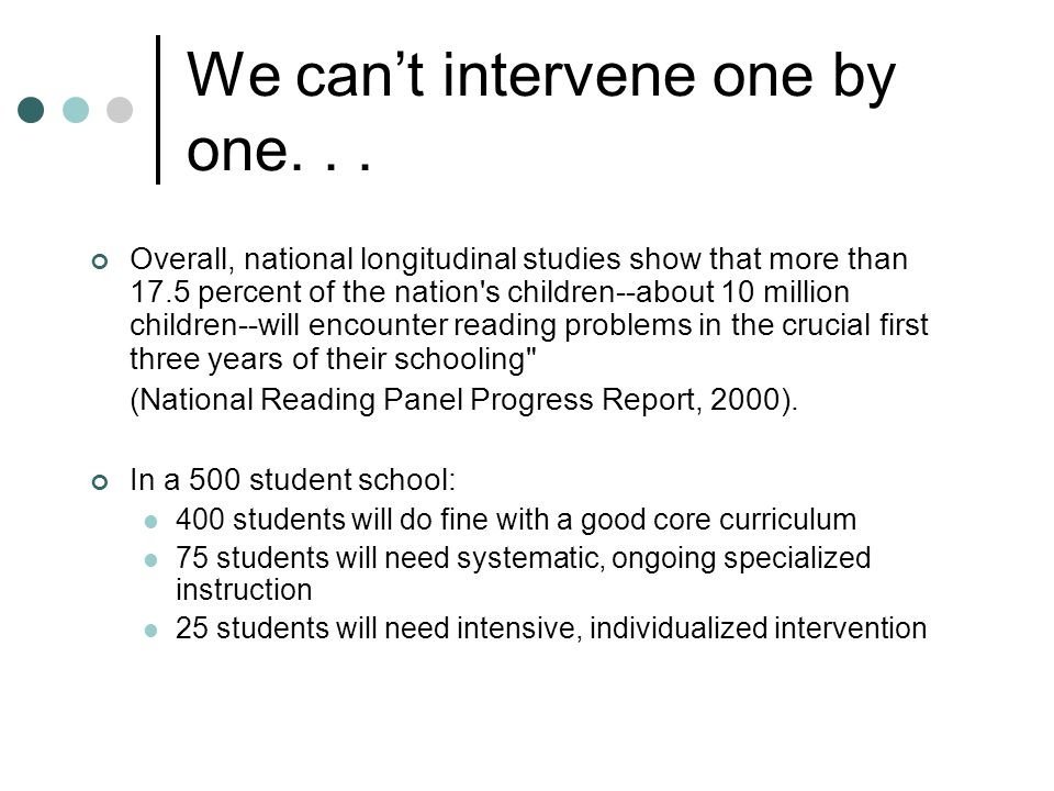 We can't intervene one by one...