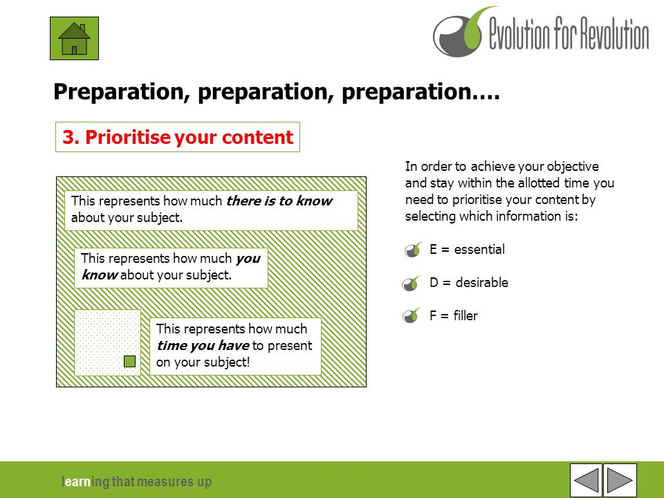 learning that measures up 2 of 6 Preparation, preparation, preparation….