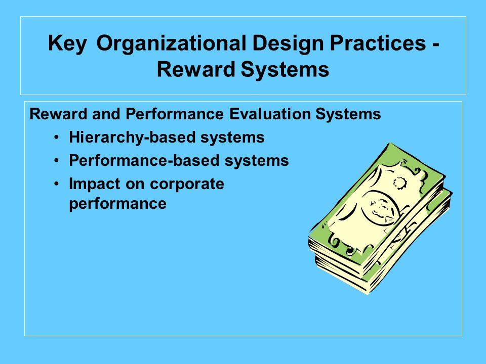Key Organizational Design Practices - Reward Systems Reward and Performance Evaluation Systems Hierarchy-based systems Performance-based systems Impact on corporate performance