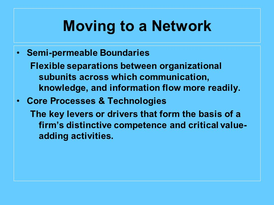Moving to a Network Semi-permeable Boundaries Flexible separations between organizational subunits across which communication, knowledge, and information flow more readily.